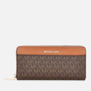 MICHAEL MICHAEL KORS Women's Jet Set Pocket Zip Around Continental Wallet - Brown