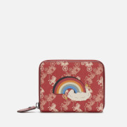 Coach 1941 Women's Coated Canvas Rainbow Small Zip Around Purse - Red
