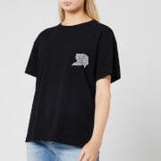 Alexander Wang Women's High Twist Jersey Short Sleeve T-Shirt with Warped Logo Print - Black