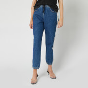 Alexander Wang Women's Jogger Style Jeans with Logo Taping - Deep Blue