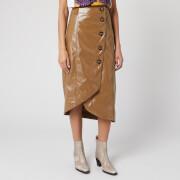 Ganni Women's Patent Button Midi Skirt - Ermine