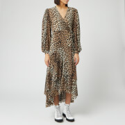 Ganni Women's Printed Mesh Wrap Dress - Leopard