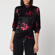 Ganni Women's Heavy Satin Floral Blouse - Black