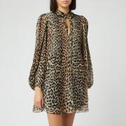 Ganni Women's Pleated Georgette Mini Dress - Leopard
