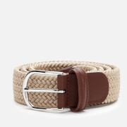 Anderson's Men's Polished Silver Buckle Woven Belt - Beige
