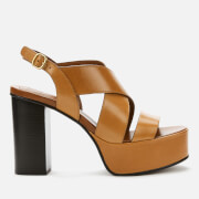 See By Chloé Women's Leather Platform Heeled Sandals - Tan