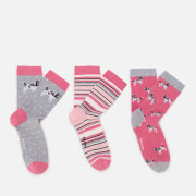 Barbour Heritage Women's Spaniel Sock Set - Pink/Taupe