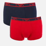 Emporio Armani Men's 3 Pack Trunk Boxer Shorts - Marine/Red/White