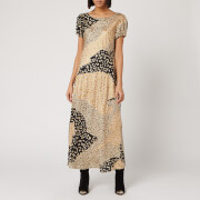 RIXO Women's Reese Dress - Gold Patchwork Leopard