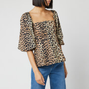 Ganni Women's Printed Cotton Poplin Blouse - Leopard