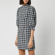 Ganni Women's Seersucker Check Mini Dress - Black