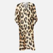 Ganni Women's Silk Linen Midi Dress - Maxi Leopard
