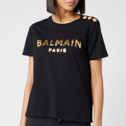 Balmain Women's Short Sleeve 3 Button Metallic Logo T-Shirt - Black/Gold