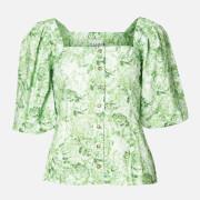 Ganni Women's Printed Cotton Poplin Top - Island Green