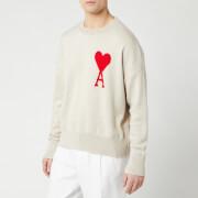 AMI Men's Intarsia Knit Oversize De Coeur Sweater - Clay