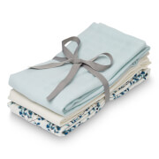Cam Cam Muslin Cloth - Fiori, Light Blue, Crème White (Pack of 3)