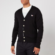 Maison Kitsuné Men's Tricolor Fox Patch Merinos Cardigan - Black