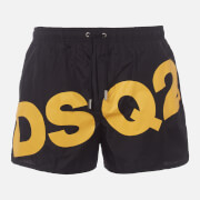 Dsquared2 Men's Large Logo Swim Shorts - Black/Yellow