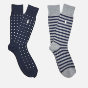 Polo Ralph Lauren Men's Dot Stripe 2 Pack Socks - Navy