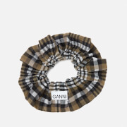 Ganni Women's Seersucker Check Scrunchie - Kalamata