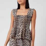 Ganni Women's Leopard Print Silk Blend Top - Leopard