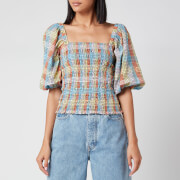 Ganni Women's Seersucker Check Top - Multicolour