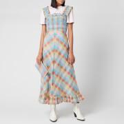 Ganni Women's Seersucker Check Midi Dress - Multicolour