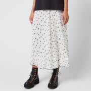 Ganni Women's Pleated Polk Dot Georgette Skirt - Egret