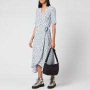 Ganni Women's Leaf Print Crepe Wrap Dress - Heather