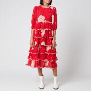 Ganni Women's Floral Pleat Georgette Midi Dress - Lollipop