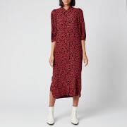 Ganni Women's Leaf Print Crepe Shirt Dress - Black/Red