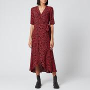 Ganni Women's Leaf Print Crepe Wrap Dress - Black/Red