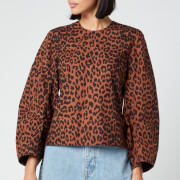 Ganni Women's Leopard Print Cotton Poplin Top - Toffee