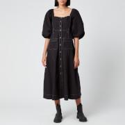 Ganni Women's Cotton Poplin Button Down Dress - Black