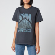 Ganni Women's Basic Cotton Logo T-Shirt - Phantom