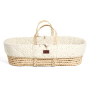 The Little Green Sheep Natural Quilted Moses Basket and Mattress - Linen Rice