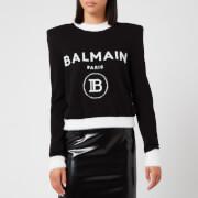 Balmain Women's Cropped Fuzzy Logo Sweatshirt - Black