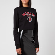 Balmain Women's Short Collegiate Logo Sweatshirt - Black