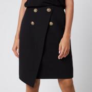Balmain Women's Asymmetric 4 Button Knee Length Skirt - Black