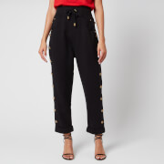 Balmain Women's Side Button Boyfriend Sweatpants - Black