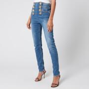 Balmain Women's High Waist 8 Button Vintage Skinny Jeans - Blue