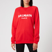 Balmain Women's Satin Logo Sweatshirt - Red