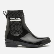 Coach Women's Rivington Signature Knit Rain Boots - Black