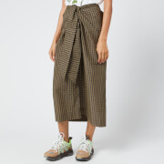 Ganni Women's Seersucker Check Midi Skirt - Kalamata