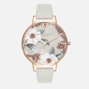 Olivia Burton Women's Bejewelled Florals Watch - Grey/Rose Gold