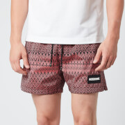 Missoni Men's Jacquard Box Logo Drawcord Swim Shorts - Red