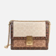 Coach Women's Signature Block Snake Hutton Shoulder Bag - Tan Sand