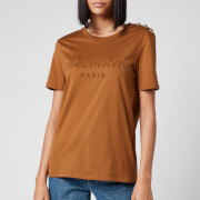 Balmain Women's 3 Button Flocked T-Shirt - Hazelnut