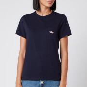 Maison Kitsuné Women's T-Shirt Tricolor Fox Patch - Navy