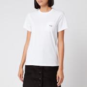 Maison Kitsuné Women's T-Shirt Tricolor Fox Patch - White